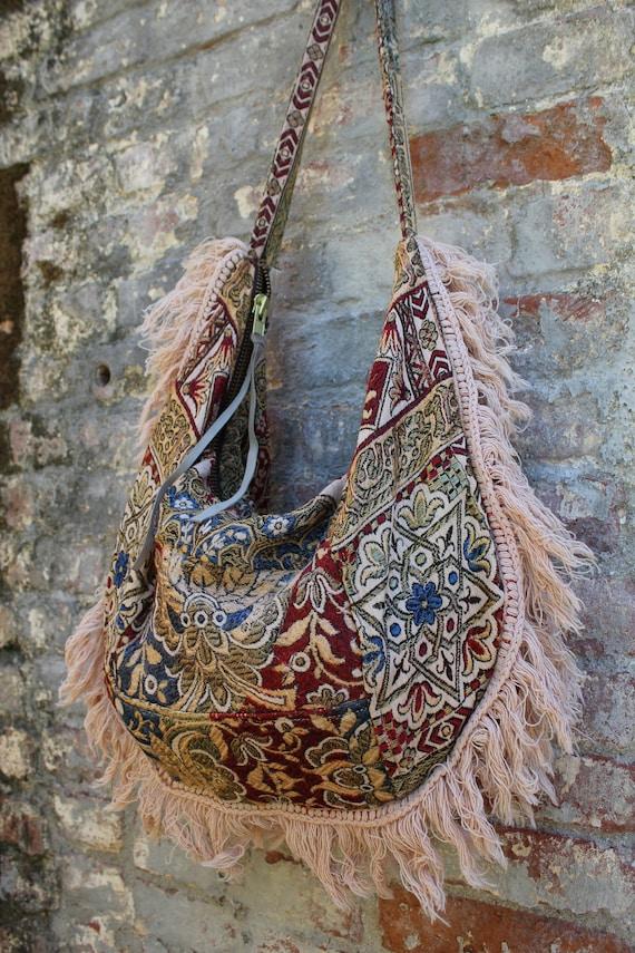 One of a Kind Carpet Bag Vintage Textile Bohemian Bag Circa 1960s