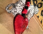 Red Heart Key Fob Purse Charm Luggage Tag. Bold Marble Style Heart Coral Chicklet Beads