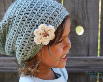 Crochet Slouch Beanie, Baby Girl Hat, Children Hat, Ice Blue