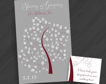 Modern Guestbook - Thumbprint Tree with Birdies or Owls - Any Color Scheme