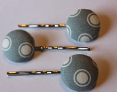 Fabric Button Pin Trio - Grey Polka Eye Test