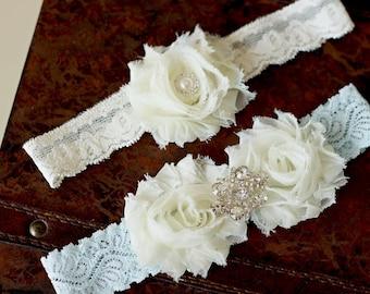 SALE Wedding garter, Ivory and blue garter set, Bridal garter, Vintage Wedding