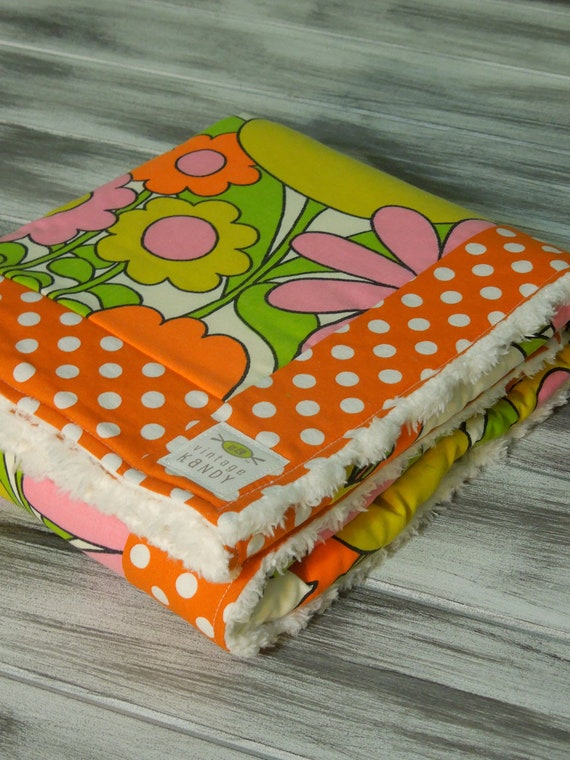 Funky Vintage Baby Blanket - Ultra Soft Minky Fleece Backing - (Ready to Ship) - Retro Wild Flowers with Dot Border