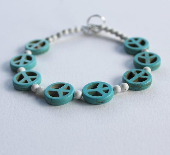Peace sign bracelet, reconstituted turquoise and howlite, unisex bracelet, men's bracelet, women's bracelet, hippie bracelet, hippie jewelry