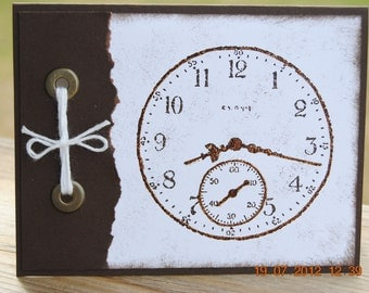 Handcrafted Masculine Retirement, Thinking of You Clock Card