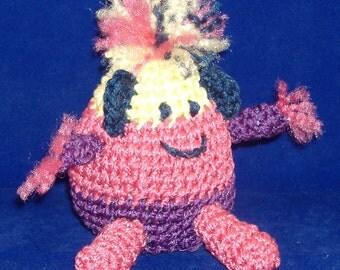 Fuzz Drop Amigurumi - Purple, Pink, Yellow Teardrop Friend to Go Everywhere with you