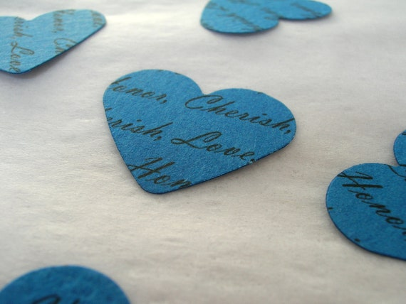 Personalized Confetti // Custom Confetti Paper Hearts // Blue