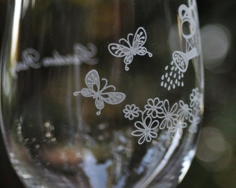 Butterfly Wine Glass, Personalized, Crystal