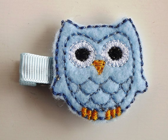 Felt owl hair clip, pin, blue, light blue Featured on dandeliondeals.com