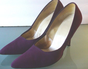 Vintage Royal Purple Suede Miles Fifth Ave Shoes Size 6.5B