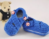 Blue Cross-Strap Double Sole Shoes (Booties) for Baby Boy with Red Soccer Ball buttons