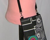 iPad Sleeve Case Sling Bag Shoulder Purse Cross Body Bag Travel Purse  zipper pocket  mixed fabrics in Black-White with color circles