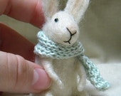 Little bunny with scarf - needle felted ornament animal, felting dreams by johana molina