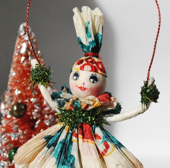 Spun cotton OOAK Vintage craft ornament Christmas spirit by jejeMae
