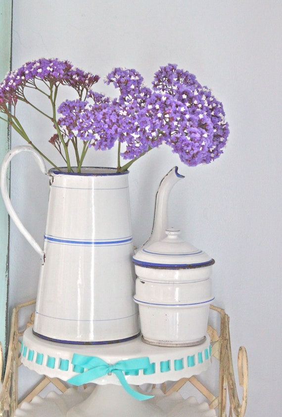 RESERVED - For M.A. - Vintage French Enamelware Coffee Biggin in Classic White and Blue
