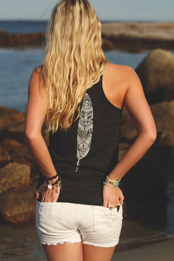 Feather Tank - Eco-friendly flowy tank top shirt in Eco-black