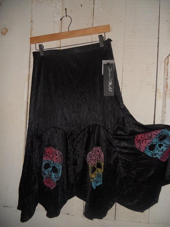 Dia de los Muertos Skirt Hand Printed