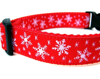 Christmas Dog Collar Winter Snowflakes