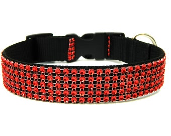 "Rhinestone Dog Collar 1"" Red Dog Collar"