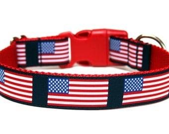 "Patriotic Dog Collar 1"" American Dog Collar"