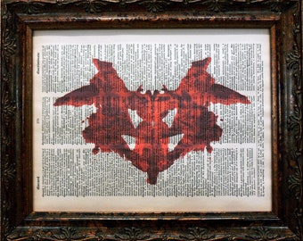 Rorschach Ink Blot 1 in Red Art Print on Dictionary Book Page
