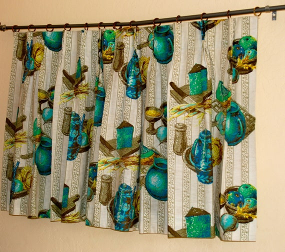 Linen kitchen cafe curtains with rings and pinch pleats, set of 2, 1960's-1970's.
