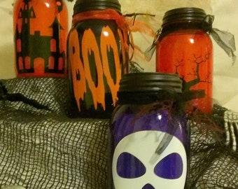 Halloween mason jars with solar powered lid lights