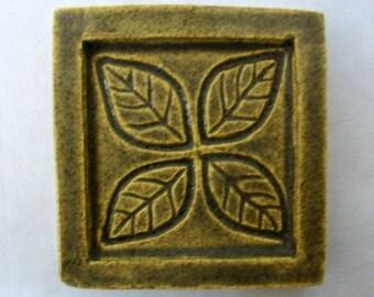 """Ceramic Accent Tile -- 2""""x2"""" Incised Leaf Design Tile -- MADE TO ORDER"""