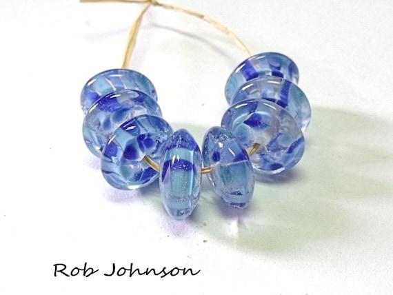 Summer River, Lampwork Glass Button Disc  Beads