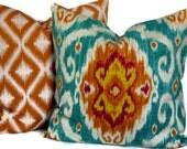 Iman Ikat Decorative Pillow Cover, Accent Pillow, Throw Pillow, 18x18, 20x20, 22x22, Sun Stone Ikat, Turquoise and Mango