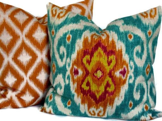 Ikat Throw Pillows Etsy : Iman Ikat Decorative Pillow Cover Accent Pillow Throw