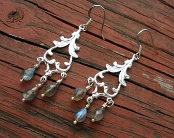 Labradorite Silver Earrings Faceted Labradorite Teardrops Wire Wrapped Silver Fancy Spade Drops Sterling Labradorite Earrings FREE SHIPPING