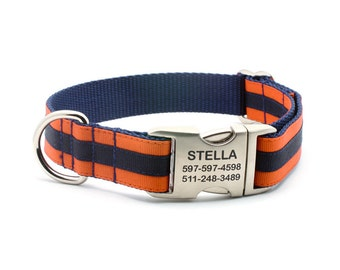 Layered Stripe Laser Engraved Personalized Dog Collar  - Orange/Navy