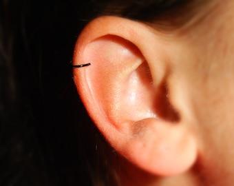 Black Helix / Cartilage Ear Cuff - fake earring, fake piercing - No Piercing Required, 20 gauge, plain, simple ear cuff, fake earring