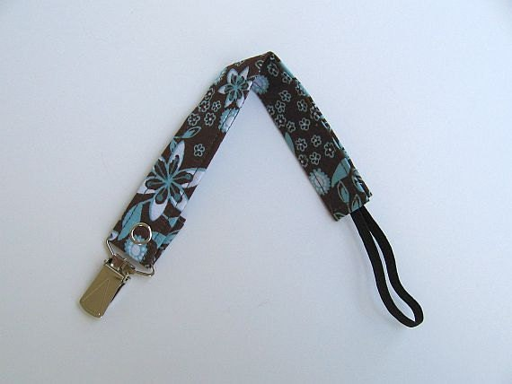 Gender Neutral Universal Fabric Pacifier Clip / Baby Paci Clip / Toddler Paci Clip / Brown & Turquoise
