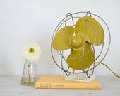 vintage mustard yellow airflow electric desk fan