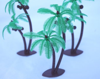 RETRO  Twin Coconut Palm Tree Cupcake Toppers--luau--party--birthdays--summer theme--12ct
