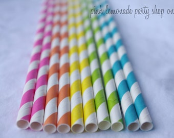 100RaiNBoW Pack-BRiGHTs-  Stripes-Paper Straws-100ct with Free Printable diy Flags