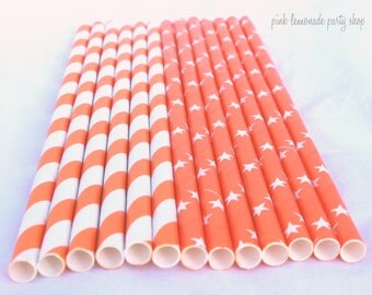 Orange Star Mix-paper straws- Solid with WHite STaRs  and orange stripe Paper Straws--25 ct with Free Printable diy Flags