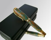 High End Fountain Pen - Turquoise Orange Lava - Handcrafted - Gold - With Black Leather Gift Box