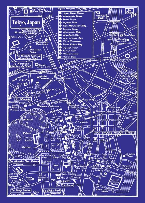 1949 vintage map of downtown tokyo japan 20x30 blueprint print like this item malvernweather Images