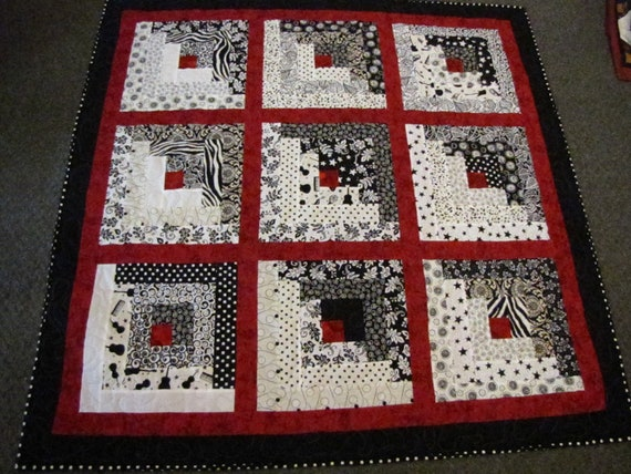 Log Cabin Black White And Red Lap Quilt