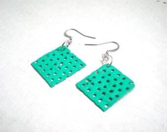 Hand Painted Aqua Earrings / Geometric Jewelry / Recycled Eco Friendly
