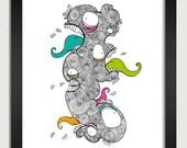 Monster Men - 8 x 10in. illustration print