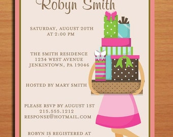 Tower of Gifts Bridal Shower Customized Printable Invitations /  DIY