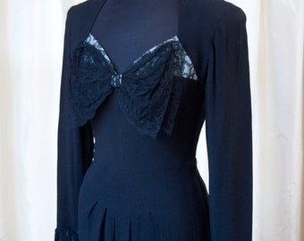 1940s Dress // Black with Large Lace Bow New York Creation Evening Dress