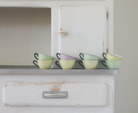 RESERVED  vintage mid century french coffee cups in pastel colours, set of 8 made by Orchies Moulin Des Loups France