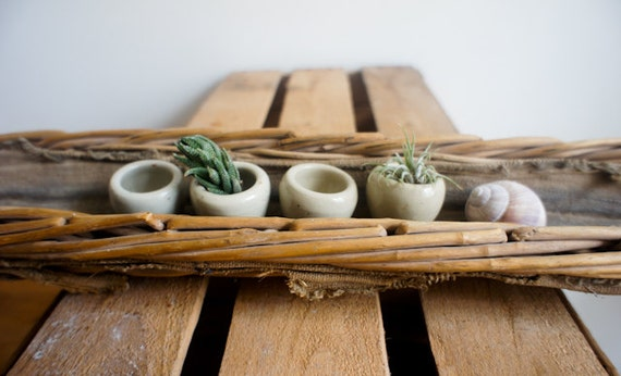 vintage french escargot serving dishes made of sandstone, set of 6