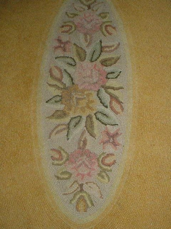 Vintage Oval Hooked Rug Roses Pink on Yellow 42 x66 Cottage Chic Decor