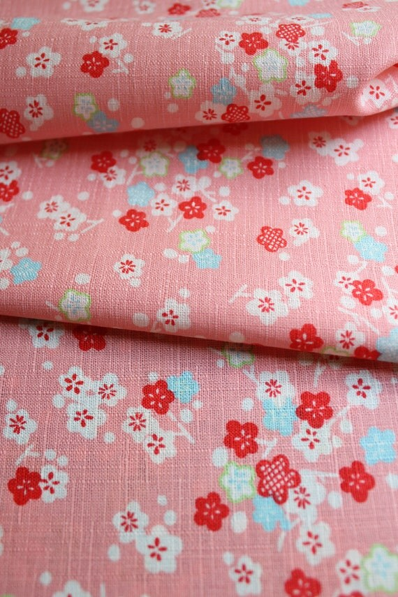 Japanese Fabric, Cherry Blossom Fabric, Japanese Sakura, Pink Fabric